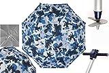 Pincho Sombrillas Playa 2m Aluminio UPF+50 99% UV Punta de Aluminio Reforzado 16 Varillas-Anti torsión (Azul Militar).