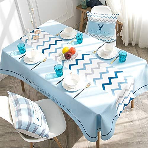 CCBAO Mantel De Hogar Rectangular Impermeable A Cuadros Azul, Mantel De Lino Y Algodón A Rayas 110x170cm