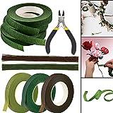 Kit de herramientas de arreglos florales, cinta para flores de calibre 26 en color verde y marrón, alambre para tallos y cortador de alambre, suministros de flores para bodas