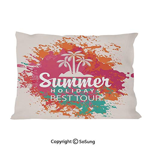 "SoSung Quote Decor Bed Pillow Case/Shams Set of 2,Summer Holidays Best Tour Lettering with Palm Tree Island Rainbow Colored Image King Size Without Insert (2 Pack Pillowcase 36""x20""),Multicolor"