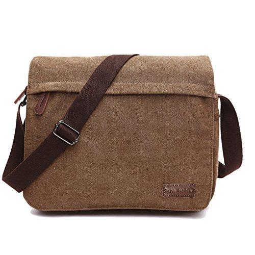 Leinwand Messenger Bag Umhängetasche Laptop Tasche Computer Tasche Umhängetasche aus Segeltuch Tasche Arbeiten Tasche Umhängetasche für Männer und Frauen, Herren, Coffee Large