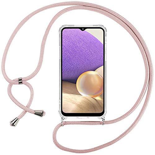 Ingen Funda Compatible con Cuerda Compatible con Samsung Galaxy A32 5G, Ultrafina Suave TPU Carcasa Transparente de movil con Correa Colgante Ajustable Case, Rosado