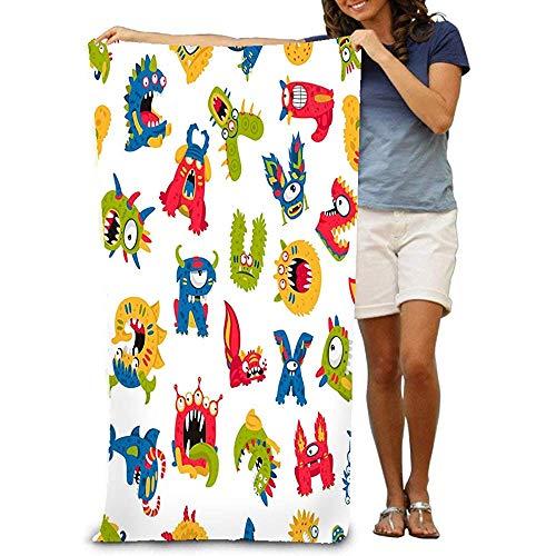 chillChur-DD Bath Towel Asciugamano da Bagno Morbido Telo Mare Grande Modello Senza Cuciture Mostri Diversi Bianco Stampa Eccellente Carta da Parati di Carta per Bambini