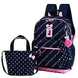 VIDOSCLA 3Pcs Heart Printing Backpack Sets Bowknot Primary Schoolbag Travel Daypack Shoulder Bag Girls Rucksack knapsack