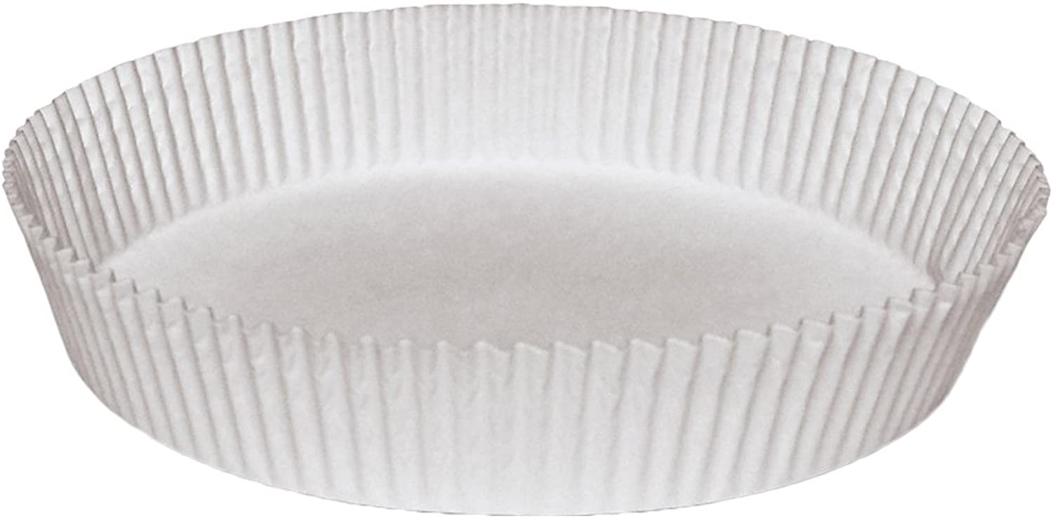 Hoffmaster BL7FCL Waxed, Fluted Round Cake Tart Liner, 9-3 4  Diameter x 1-1 2  Height, White (4 Packs of 250)