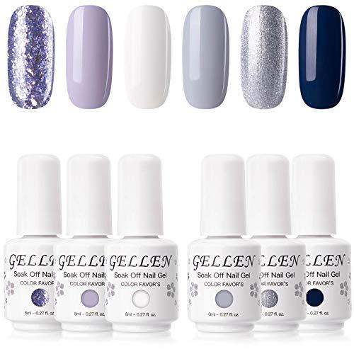 cnd at home gel nail kits Gellen Gel Nail Polish Kit - Soft & Tranquil Tones Lavender Grays White Midnight Blue 6 Colors, Popular Solid Metallic Glitters Nail Art Design Salon/Home Gel Manicure