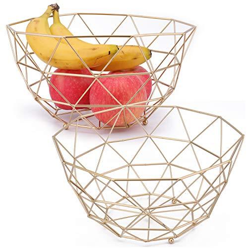 Kingrol 2 Pack Gold Fruit Basket Metal Fruit Bowl, Wire Storage Baskets for Fruits, Vegetables, Bread, Snacks, Potpourris