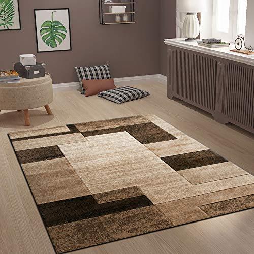 VIMODA Moderner Teppich Kachel Design in Braun Meliert, Maße:120x170 cm