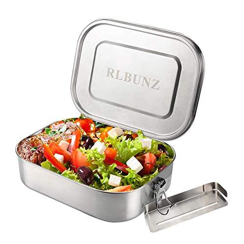 RLBUNZ Edelstahl Brotdose Auslaufsicher, 1200ml Lunchbox Bento Box mit Herausnehmbarem Trennwand, 100% BPA-frei, Nachhaltig und Gesund, Große Frischhaltedose für Schule, Uni, Büro, Erwachsene, Kinder