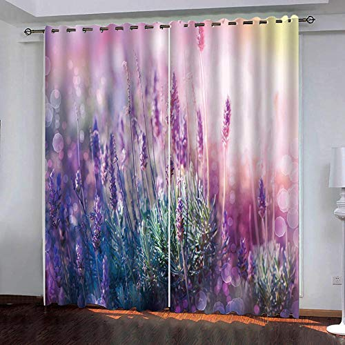 SUZIHUA Verdunkelungsvorhang 3D Lila Weizen Massiver Vorhang Isolierung Fensterdekoration Öse Wohnzimmer...