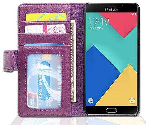 Cadorabo Custodia Libro per Samsung Galaxy A5 2016 in Lila Bordeaux - con 3 Vani di Carte e Chiusura Magnetica - Portafoglio Cover Case Wallet Book Etui Protezione