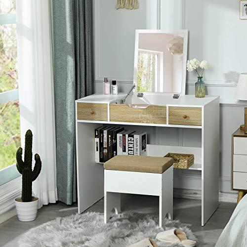 Tiptiper Schminktisch mit Klappbar Spiegel, Frisiertisch mit Gepolsterter Hocker für Schlafzimmer, Schminkkommode Frisierkommode mit 2 Schubladen