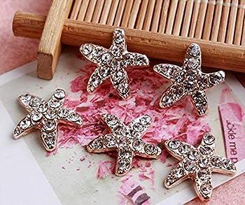 Xucus !100pcs/lot 17MM Starfish Rhinestone Button Pearl Wedding Invitation Embellishment Scrapbooking Napkin Ring