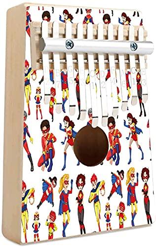 Superhroe Kalimba 10 teclas Pulgar Piano Hero Mscara Mujer Hombre Disfraz Poder Justicia Personas Iconos de moda Pantalla para nios Mbira porttil Piano de dedo Regalo para nios Adultos Principia
