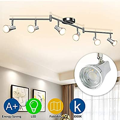 DLLT Modern LED Track Lighting Kit-6 Lights Adjustable Decorative Track Light Fixture, 6 Way Flush Mount Ceiling or Wall Spotlight for Kitchen, Dining Room, Hallway, Bedroom, Warm Light, Silver
