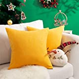 Topfinel juego 2 hogar algodón lino decorativa almohadas fundas de color sólido para sala de estar sofás amarillo 50x50cm