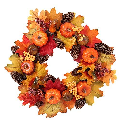 Muzboo Türkranz Herbstkranz Ahornblatt Kürbis Wandkranz für Thanksgiving Dekoration Ø 40 cm