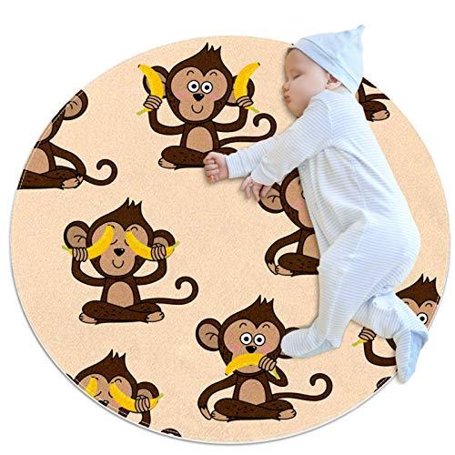 henghenghaha Alfombra redonda, lavable a máquina, para interiores y exteriores, para dormitorio, sala de estar, niños, sala de juegos, lindo mono