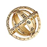 GEMITTO Astronomical Finger Ring, Gemma's Retro Vintage Globe Universe Ball Ring, Armillary Sphere Ring, Unfold to Cosmic Ball, Gift for Couple Lovers (Copper Plated with 18K-Gold #12)