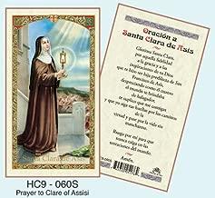 Oracion a Santa Clara de Asisi Laminated Prayer Cards - Pack of 25 - HC9-060S