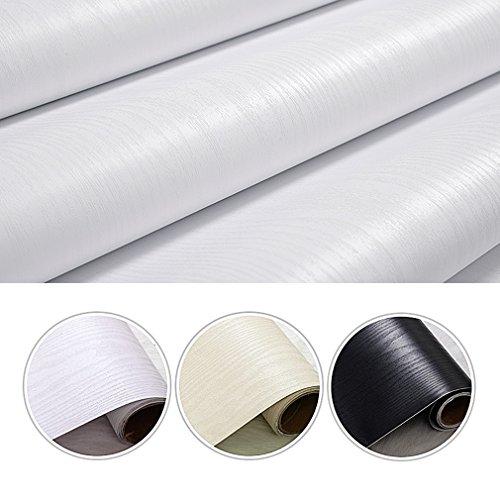 iKINLO Holztapete Selbstklebende Folie Wandtapete Naturholz Dekorfolie Möbelfolie 0.61 * 5M Tapeten Wandaufkleber aus hochwertigem PVC Weiß