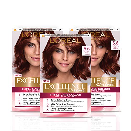 L'Oreal Paris Excellence Crème Brown Permanent Hair Dye, Up to 100% Grey Hair Coverage,...