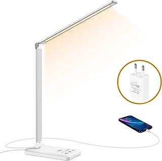 Flauno Lámpara Escritorio LED, Flexo de Escritorio Regulable con Puerto de Carga USB, 5 Modos, 10 Niveles de Brillo, Temporizador, Función de Memoria, Protege los Ojos