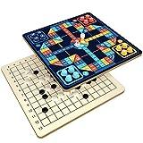 FEANG 2 en 1 Ludo DE Madera Set con Piezas de ajedrez, Juego de Mesa de Viaje portátil Gobang Set para niños y Adultos - 11.6 Pulgadas