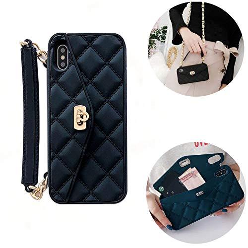 SevenPanda Wallet Telefonkasten Kompatibel mit iPhone 7 Plus/iPhone 8 Plus, Pretty Tasche Geldbörse Flip Kartenetui Hülle aus Weichem Silikon mit Langem Schultergurt (Schwarz)