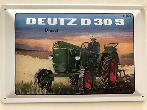 Blechschild 30 x 20 cm - Deutz Traktor D30S Baujahr 1961 - Deko7