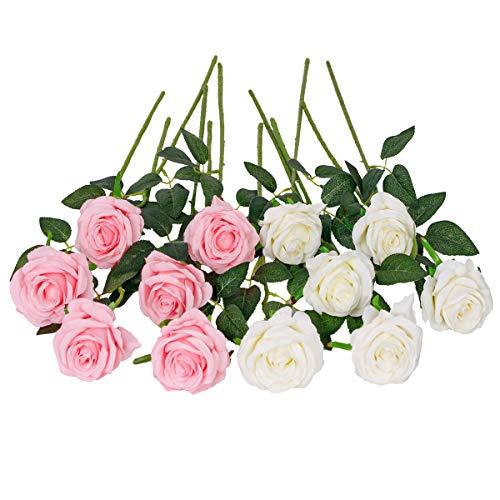 Floralsecret 12 Stück künstliche Seide Rosen Blumenstrauß Faux Flowers Home Hochzeitsfeier Dekor(Weiß, Rosa)