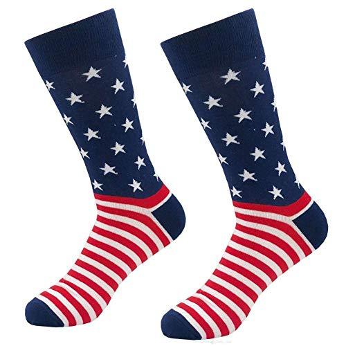 Jackgold Honey Lustige Herren-Socken mit Rundhalsausschnitt, farbenfroh, Freizeit-Socken, Unisex, Amerikanische Flagge 1 Paar