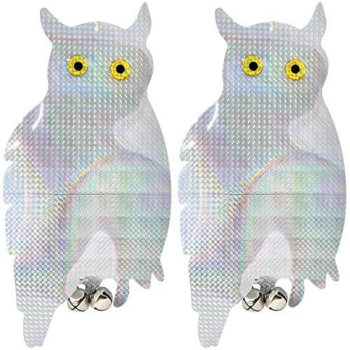 com-four® 2X Oiseau de défense comme Mannequin Hibou avec des Cloches, répulsif de Pigeon pour accrocher, Peur des Oiseaux pour la Maison et Le Jardin, 41 x 20 cm (02 pièces - Hibou V1)