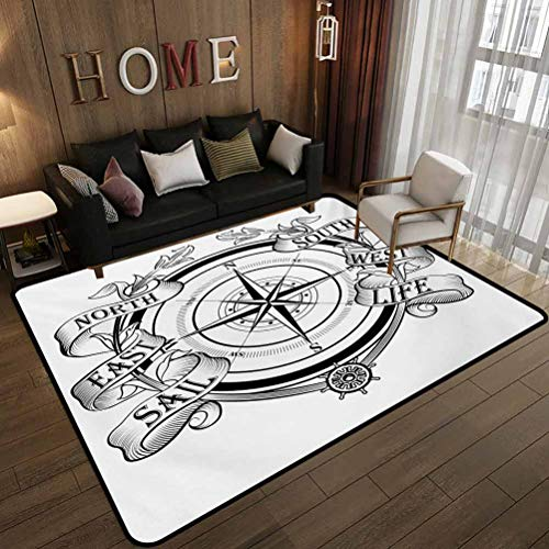 Dormitory Floor mat,Navigation Device Direction Flares Sail Life Marine Inspired Windrose Work of Art,Non-Slip Decoration of Floor mats for Patio Doors Black White 6.6'x8'(200x240cm)