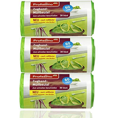 Profissimo Gut & Günstig Zugband Müllbeutel, 60 Liter (90 Stück), Reißfest & Flüssigkeitsdicht, 3er Pack (3 x 30 Stück)