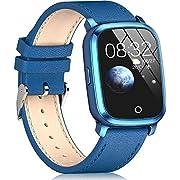 Trackbee スマートウォッチ Bluetooth5.0 ガラススクリーン 本革ベルト iOS/Android対応 (ブルー)