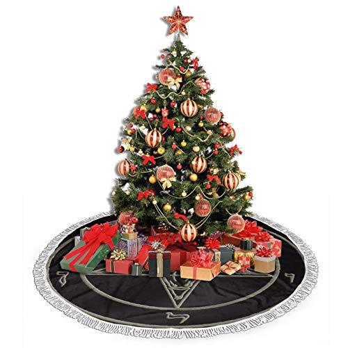 Kasonj Christmas Tree Skirt, 36 Inches Xmas Tree Skirt, Pentacle Pewter Satanic Goat Tree Mat For Christmas Decorations Theme Festive Holiday