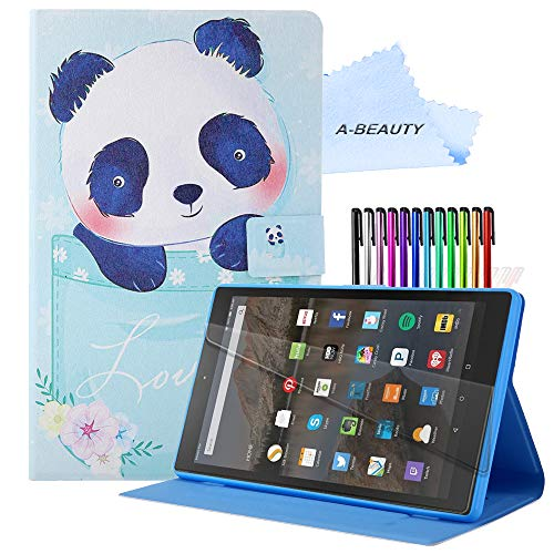 A-BEAUTY Case for Amazon Fire HD 8 Plus 2020/Fire HD 8 2020 (10th Generation) with [Screen Protector] [Card Slots] Anti-Slip Stand Cover with [Auto Sleep/Wake] - Lovely