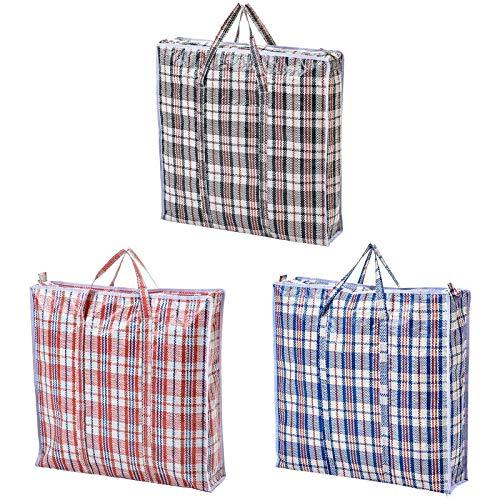 Kkoqmw Bolsa de lavandería Duradera de 6 Piezas, Bolsa de Compras Resistente, Bolsa de Almacenamiento, Bolsa móvil Reutilizable con Cremallera y asa