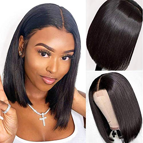 PORSMEER Peluca Negro Corto Recto Afro Bob Encaje Frontal Pelucas para Mujer, Natural Color Brasileña Pelo Lacio Lace Front Completo Sintéticas Hecho a Máquina Wig para Cosplay Disfraz o Diariamente