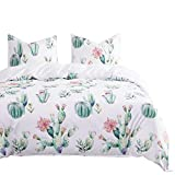 Wake In Cloud - Cactus Comforter Set, Watercolor Cacti Pattern Printed in Green Purple on White, Soft Microfiber Bedding (3pcs, Queen Size)