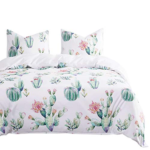 Wake In Cloud - Cactus Comforter Set, Watercolor Cacti Pattern Printed in Green Purple on White, Soft Microfiber Bedding (3pcs, Twin Size)