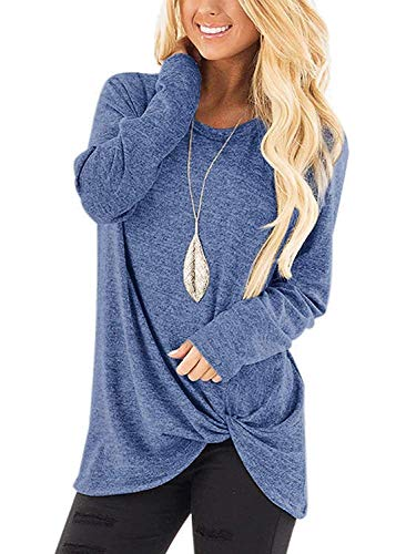 Women T Shirts Basic Solid Color Twist Side Knot Casual Tops Light Blue XL
