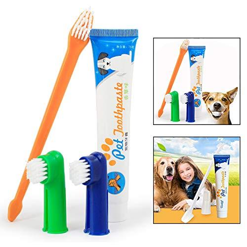 Xrten Dentifricio per cani, Kit Igiene Dentale Dog/Cat Denti Pulizia(Sapore di manzo)