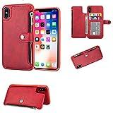 WASAIYE para iPhone XS MAX Phone Case, 3 Tarjetero, Cartera de Negocios de Cuero Vegano,Red