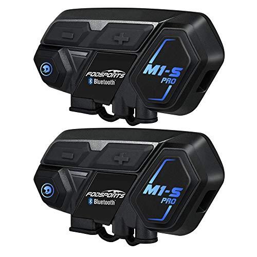 Moto Intercomunicador Bluetooth, Fodsports M1S Pro 2000M 8 Riders Group Moto Casco Sistema de comunicación inalámbrico Auriculares (impermeable / manos libres / música estéreo / GPS / 2 mic)