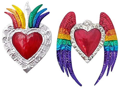 2 Ex Voto Sacred Heart   Hand Crafted Mexican Tin Art In Colorful Floral And Wings Design   Milagros Heart Metal Charms Set For Wall Decor (Has Hole To Hang)