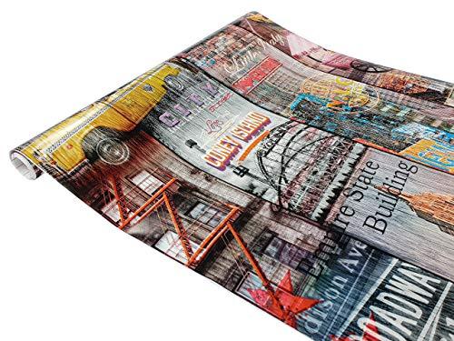 Askol DecoMeister Klebefolie dekorative Möbelfolie Selbstklebende Deko-Folie Selbstklebefolie Dekoration Motiv Muster Fertigrolle 67,5x200 cm New York Manhattan Coney Island