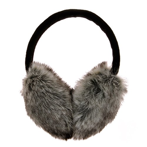 ZLYC Womens Girls Winter Fashion Adjustable Faux Fur EarMuffs Ear Warmers, Grey