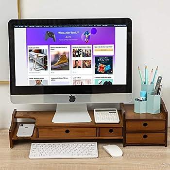 Maydear Bamboo Monitor Stand Riser with 4 Storage Drawer 2 Tier Desk Organizer Stand for Laptop Computer Desktop Printer Stand Versatile as Storage Shelf & Screen Holder